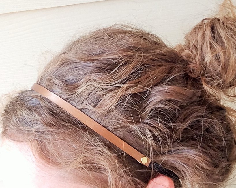 Bronze Skinny Leather Headband Model Shot