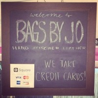 Bags by Jo we take credit cards sign