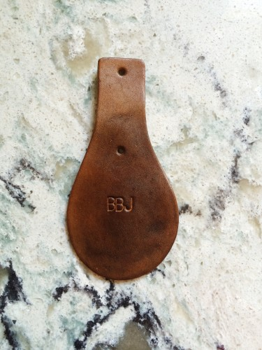 Dark brown initialed key chain