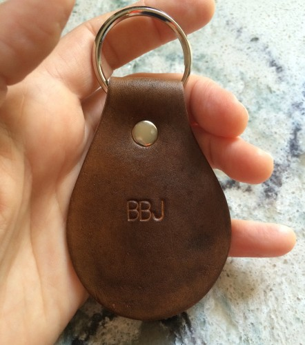 Dark brown hand stamped leather key chain