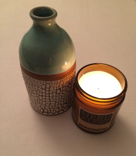 Crackled vase and soy candle
